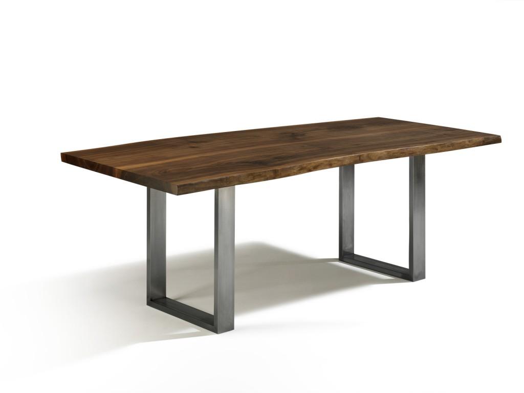 Esstisch nussbaum ausziehbar  NEU: Baumkante Tisch mit Edelstahlfüßen - Talca - Esstisch ...
