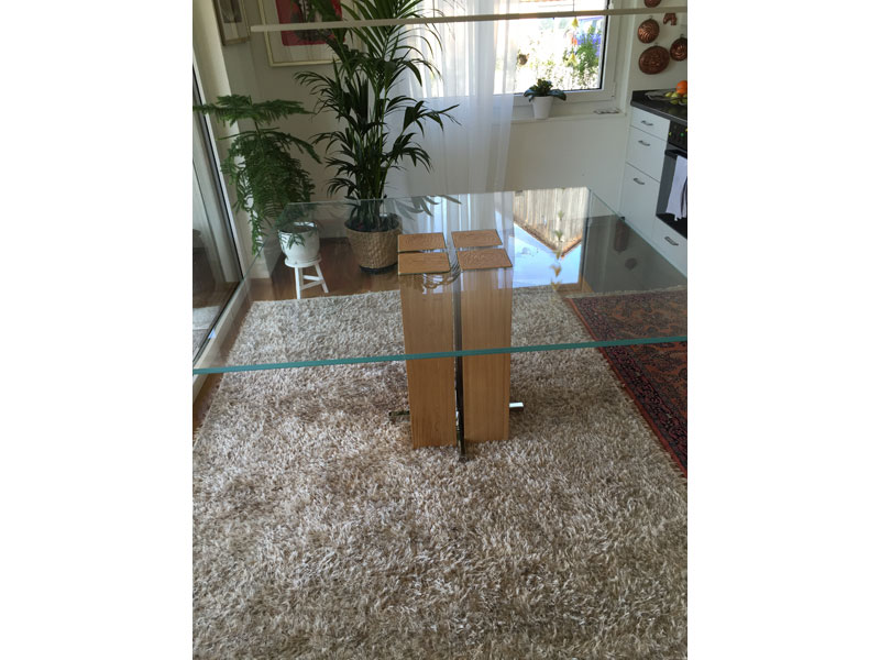 Säulen Esstisch Glas - Massivholz Alria Quadrat